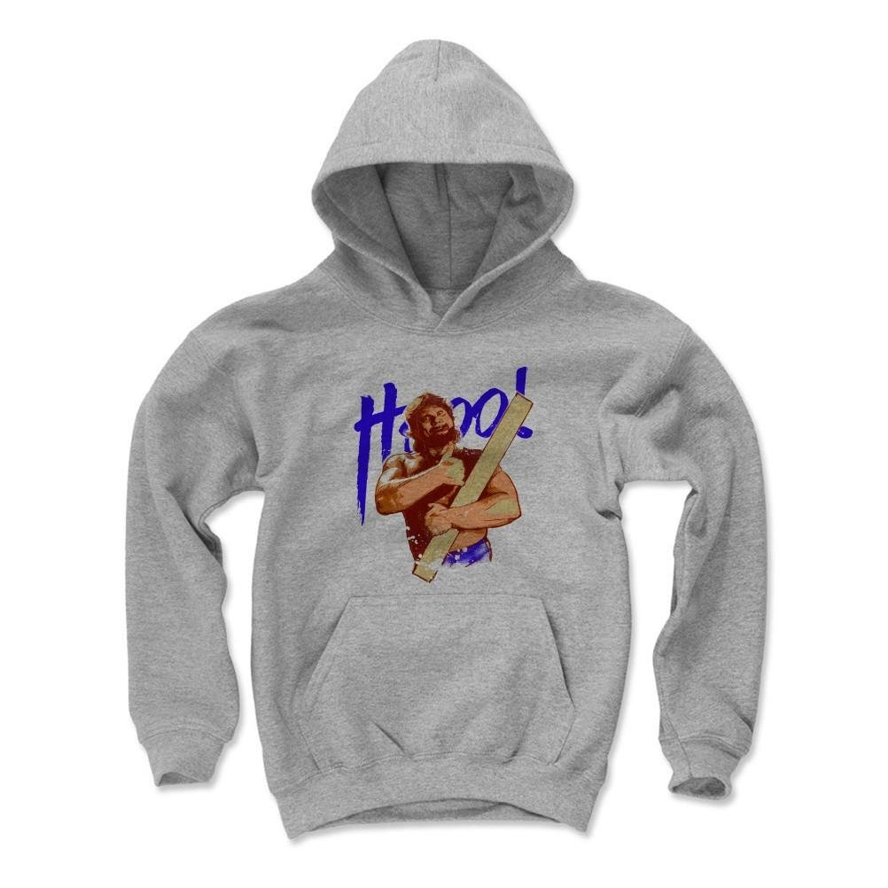 500 Level's Hacksaw Jim Duggan Kids Youth Hoodie S Gray - Hacksaw Jim Duggan Po2 B - Officially Licensed by Pro Wrestling Tees by 500 Level