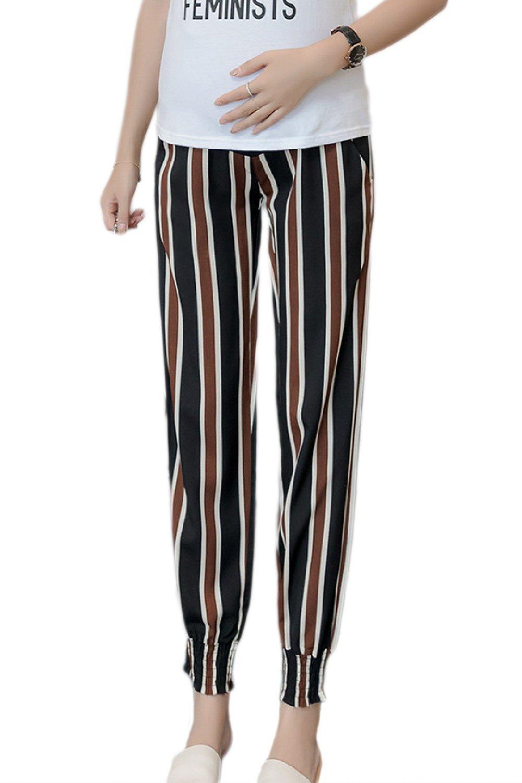 Fanvans Womens Maternity Lounge Pants Loose Chiffon Boho Print Ankle Black3 M