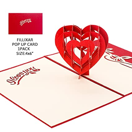 3D Pop Up Thank You Cards Mothers Day Card FILLIXAR Valentines With Envelopes