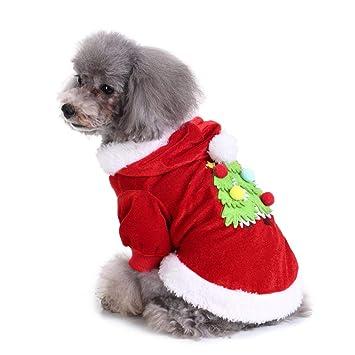 Sanzhileg Ropa para Perros Bordado de Navidad para Mascotas Traje de Navidad Ropa Linda de Dibujos