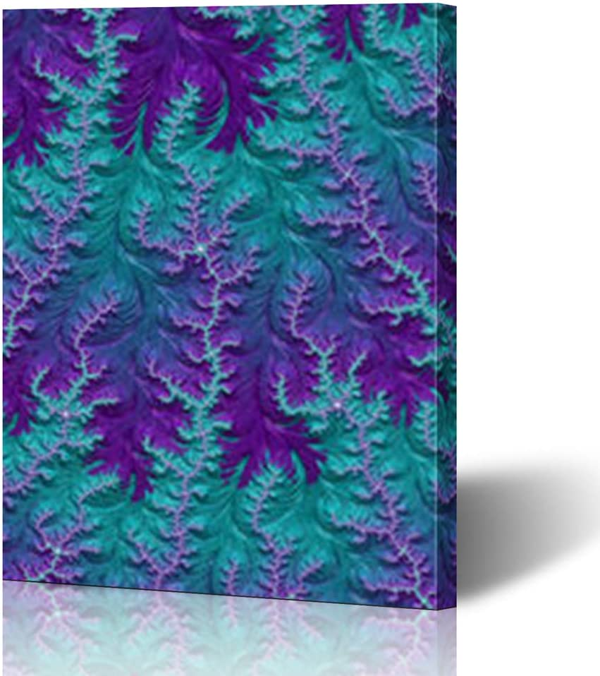 """HugeDecor Painting Canvas Prints Wall Art 16""""x16"""" Cold Teal Turquoise Blue Amethyst Purple Year Frosty Fractal Navy Modern Artwork Home Decor Living Room Office Bedroom"""