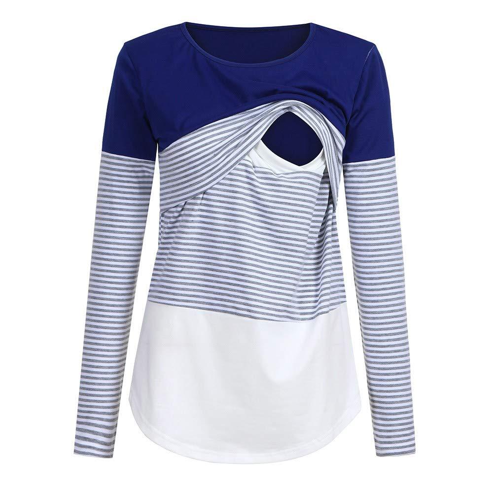 Yesmile Umstandsmode Streifen Patchwork Umstandsmode Langarm T-Shirt Umstandshirt Bluse Oberteile Umstandslangarmshirt