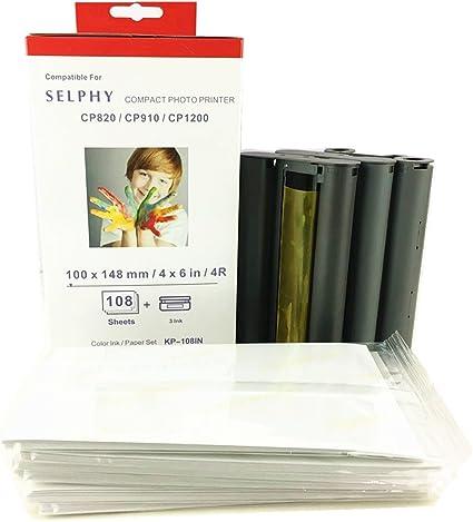compatibile con la stampante Canon Selphy Canon Selphy CP1200 CP910 Carta Fotografica KP-108IN 3115B001 AA 10x15 cm con 3 cartucce di inchiostro 108 fogli di carta per stampante