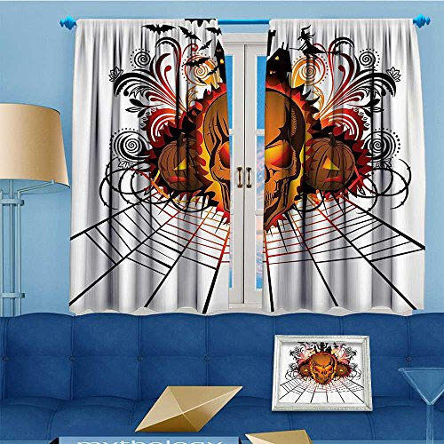 Philiphome Bedroom Blackout Curtains Panels Window,Kull ce Bfire Effect Spirits of Other World Ccept Bats and Spider Web Halloween Treatment Thermal Insulated for Living Room,108
