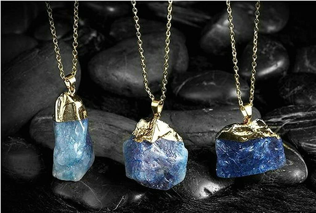 Aooaz Jewelry Women Gold Plated Pendant Necklaces Irregular Blue Wedding Necklace Charm Necklace