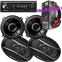 Package - Pair of Pioneer TS-A6966R 420W 6x9 3-way + Pair of Pioneer TS-G1345R 5-1/4 2-way 250W Car Speakers + Kenwood KDC-BT21 Single-DIN In-Dash Bluetooth CD Receiver + Free EBH700 Headphone