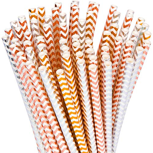 YouShop Biodegradable Paper Straws 100-Pack - Gold, Rose Gold, Silver Drinking Straws for Bridal Shower, Baby Shower, Birthday, Wedding Decorations, Party Supplies | (Zigzag Rose Gold + Gold + Silver)