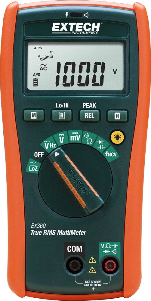 Extech EX360 Compact Electrical True RMS MultiMeter with Built in NCV by Extech