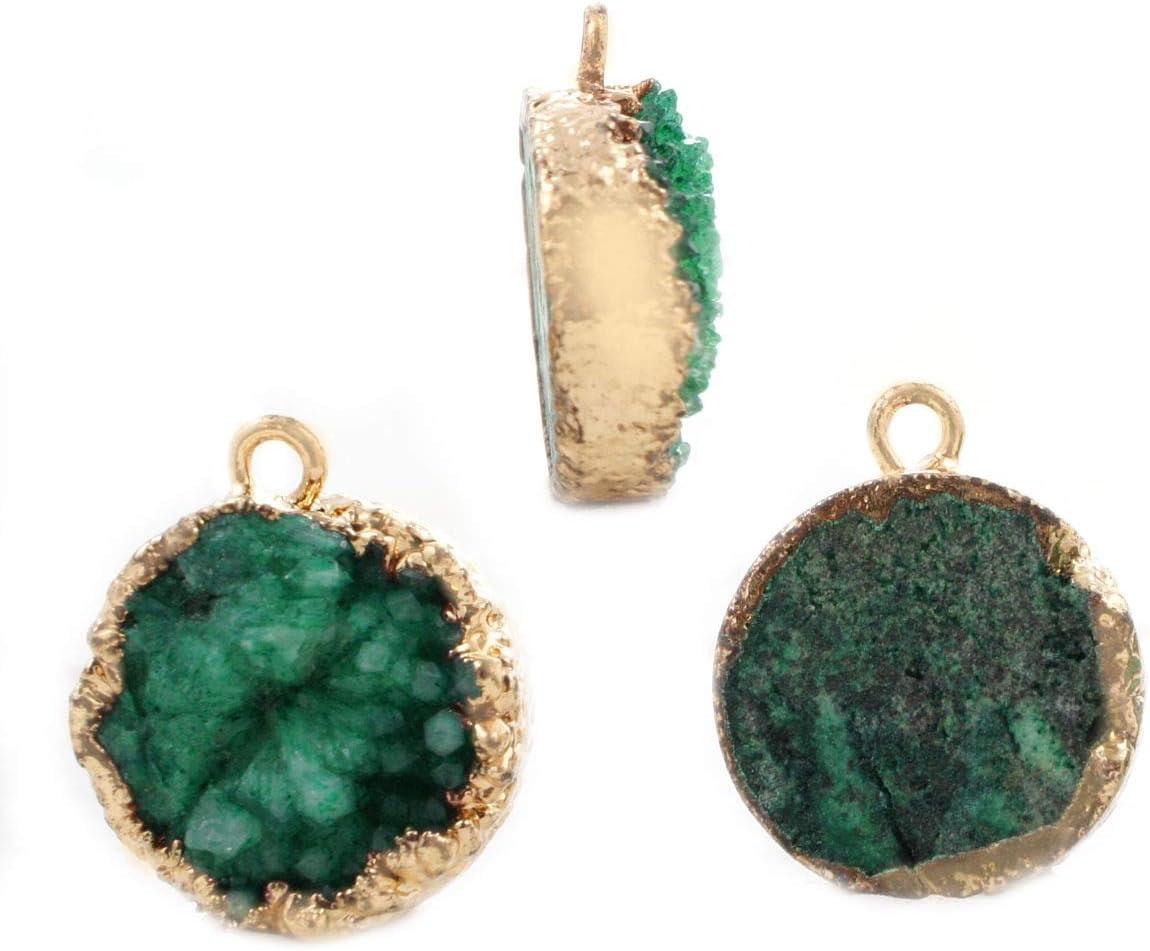 1pc Verde Esmeralda Natural de Druzy de Hielo de Cuarzo Ágata piedra PRECIOSA Piedra Chapado en Oro Ronda los Colgantes de los Encantos de Metal Resultados 15.5 mm