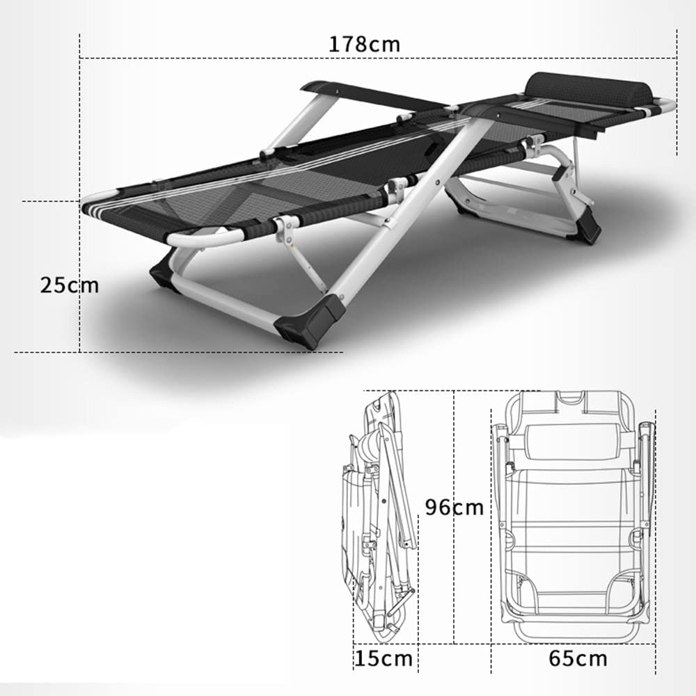 ZHPBHD Folding Chair Recliner Folding Lunch Break Office Siesta Chair Folding Chair Beach Chair Lounge Chair (Color : C) A