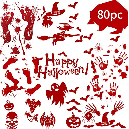 QCQHDU 80 Pack Halloween Decorations Crime Scene Party,Halloween Window Decals Wall Stickers Decor, Bloody Handprint Footprint Horror Zombie Party Decorations Supplies