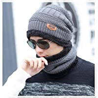 Alexvyan Grey Certified Imported 1 Set Snow Proof (Inside Fur) Unisex Woolen Beanie Cap with Scarf for Men Women Girl Boy Warm Winter Soft