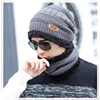 AlexVyan Unisex Woolen Beanie Cap and Neck Scarf Set (Black, Regular)