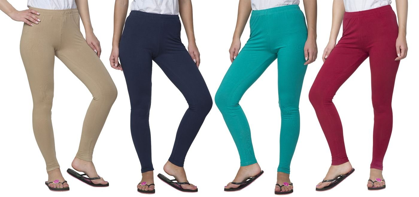 Clifton Women's Cotton Spandex Fine Jersey Leggings Pack Of 4-Assorted-8-M