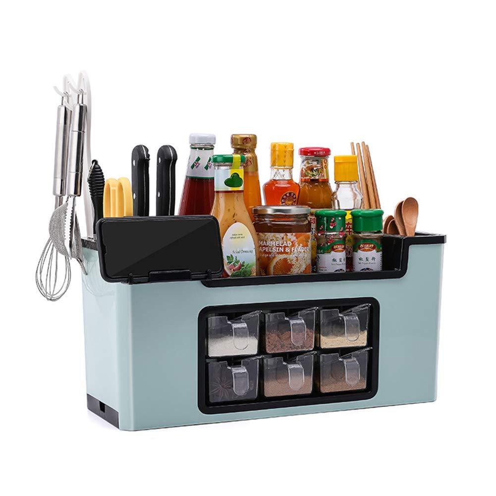 junshi11 Seasoning Bottle Storage Box Kitchen Brush Jar Spoon Organizer Holder Case Home Kitchen Cooking Accessories Blue by junshi11