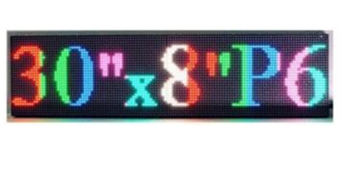P6 Full Color LED Sign 30''x 8'' Programmable Scrolling Display Message Board