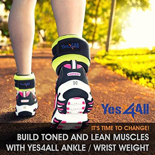 Yes4All Ankle / Wrist Weight Pair Set with Adjustable Strap – Multi Weight & Color Available