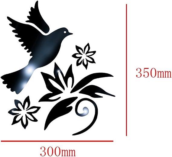 Homebaby Stickers Muraux--Oiseau Stickers Muraux Amovible Sticker Muraux Miroir Sticker Muraux Autocollants Muraux Mural Stickers Chambre Enfants B/éb/é Garderie Salon Argent