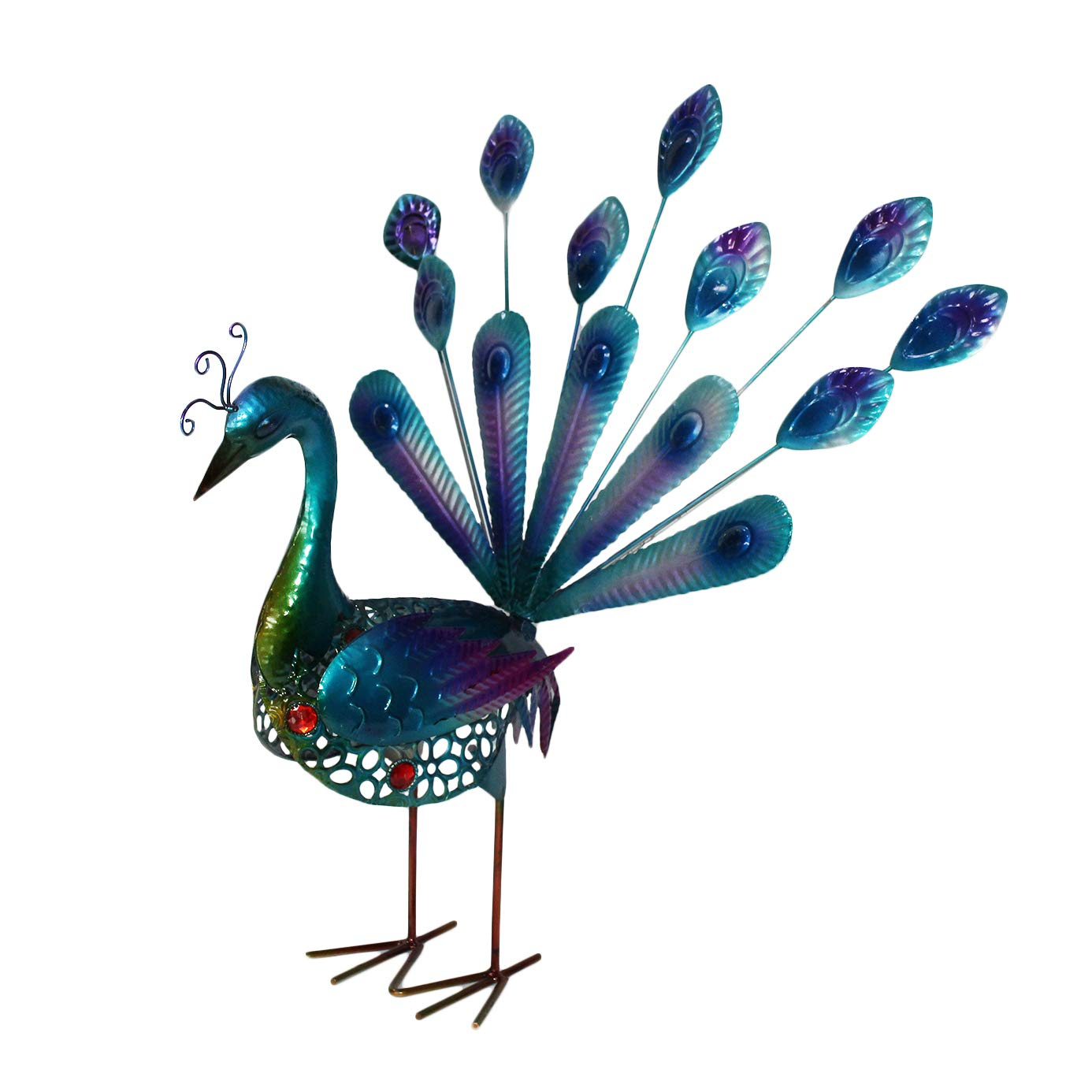 YOUKOOD 20 Inch Beautiful Peacock Garden Outdoor Indoor Decor Statues, Metal Yard Art Peacocks Lawn Ornaments Yard Party Landscape Figurine Decorations (Blue Peacock)