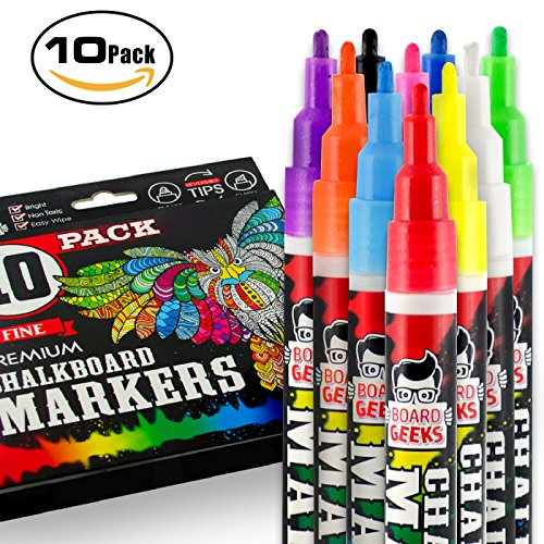 Board Geeks Liquid Chalk Markers for Chalkboards, Whiteboards, Black Boards, Glass, Metal, Vinyl, etc. | Reversible Tip (10 pack Fine - Thick Geek