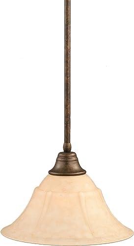 Toltec Lighting 26-BRZ-53318 Stem Pendant Light Bronze Finish with Italian Marble Glass Shade, 14-Inch