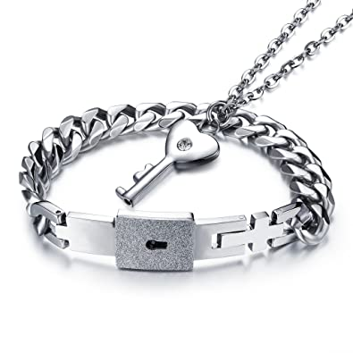 bigsoho Plata Collar de acero inoxidable Circonita Llave ...