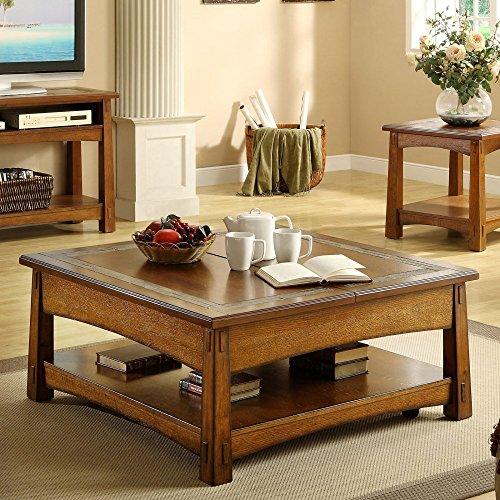 Square Lift-Top Cocktail Table (Desk Oak Riverside)