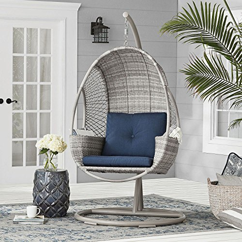 Outdoor Hand-Woven All-Weather Wicker Hanging Egg Chair on Stand w/ Storage