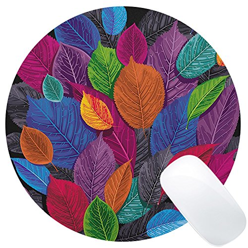 Wknoon Colorful Leaves Print Art Mouse Pad Round Mat, Abstract Vintage Leaf Painting Artwork Circular Mouse Pads