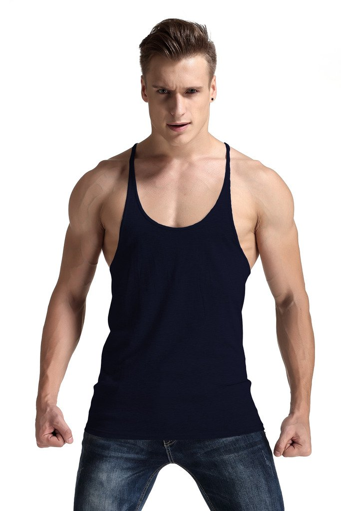 YAKER Mens Undershirt Casual Low Cut Stretchy Sleeveless Shirt Crew-Neck Black Small