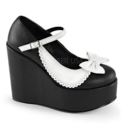 087e8ce7906 Demonia 5 inch Wedge Platform Two Tone Mary Jane (Black White Vegan Leather