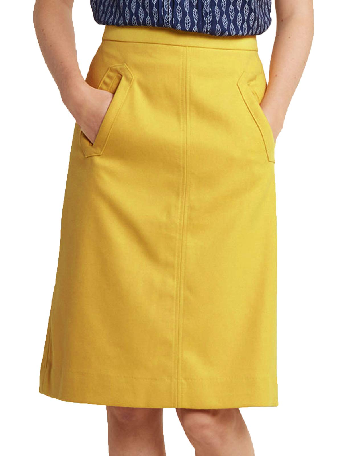 Womens Slim Fit A-Line Skirt with Pocket Knee Length(XL,Yellow)