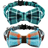 KUDES 2 Pack/Set Cat Collar Breakaway with Cute Bow Tie and Bell for Kitty and Some Puppies, Adjustable from 7.8-10.5 Inch (Cyan-Blue+Blue-Gray, Plaid)