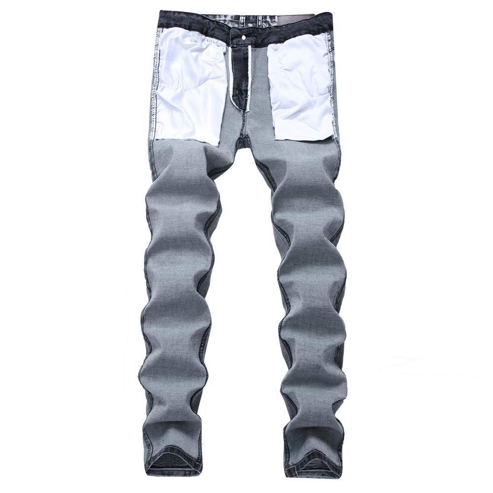 Xuanbao Jeans de Ocio Regular para Hombre Vaqueros Casuales ...