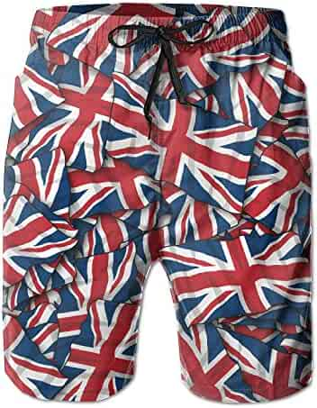 dde3b64d69 ZQ-SOUTH Men's British Flag Repeat Quick Dry Summer Beach Surfing Board  Shorts Swim Trunks