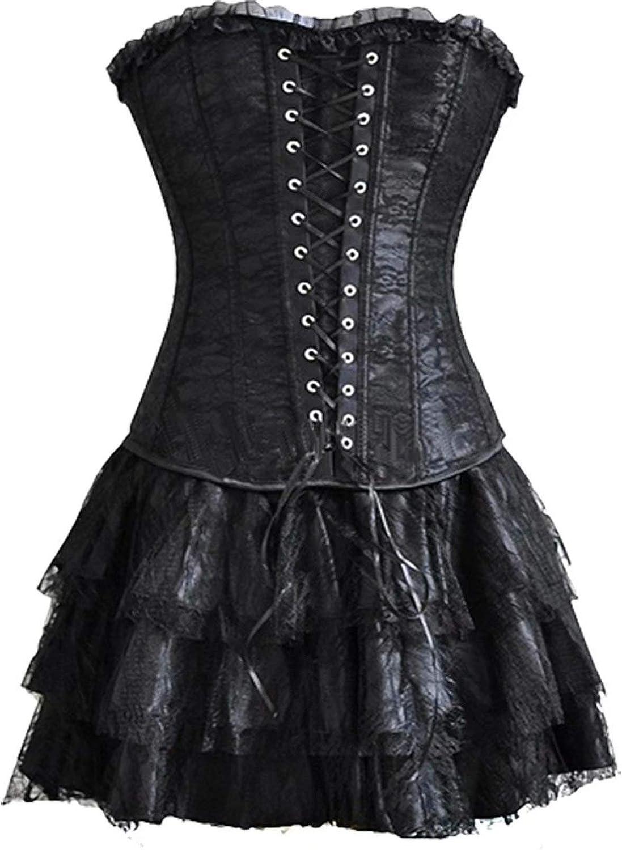 Gothic Korsett Kleid elegant Corsage Spitze Corsagenkleid Mini Rock  Petticoat Bustier Top mit Tutu Sexy