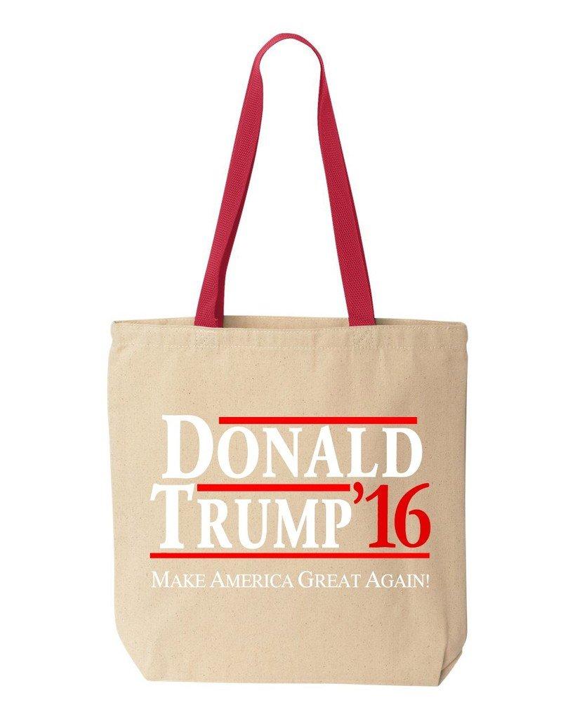 shop4everドナルドトランプ2016コットンキャンバストートバッグ政治選挙再利用可能なショッピングバッグ10 oz色付きハンドル 10 oz レッド S4E_1215_Trump2016_TB_8868_Red_3 B06XTFQY27  ナチュラル-レッド