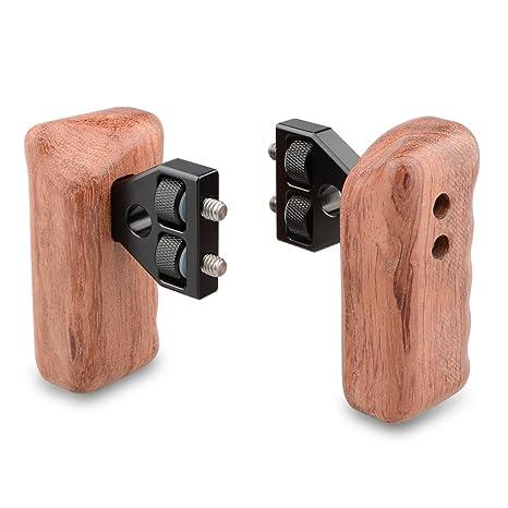 CAMVATE DSLR mango de madera Grip con conector para DV cámara de ...