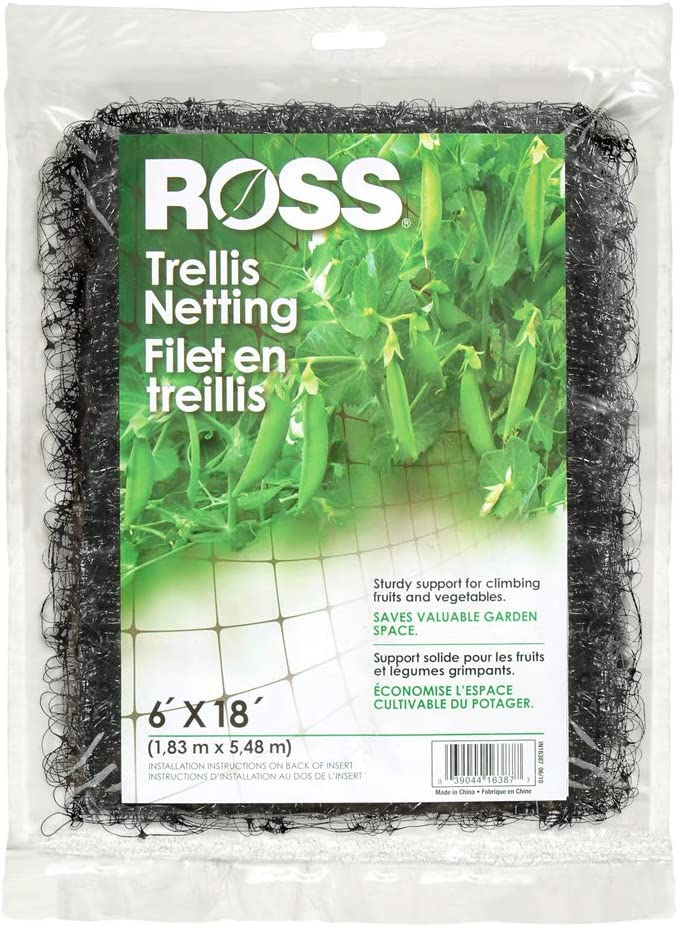 Ross Trellis Netting (Support for Climbing, Fruits, Vegetables and Flowers) Black Garden Netting, 18 feet x 6 feet