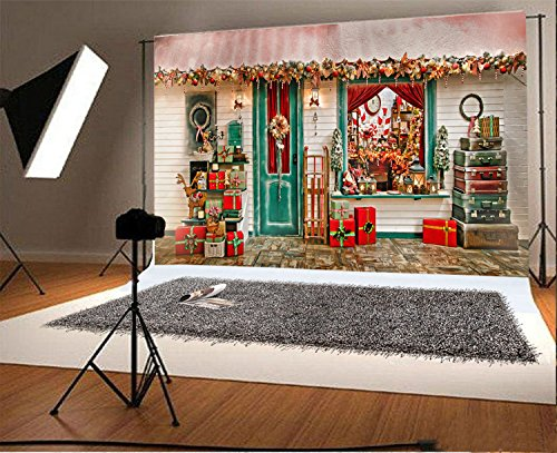 Decorations Santa Collection - Laeacco Vinyl 7x5ft Photography Background Christmans Decorations Santa Claus Presents Collections Gifts Window Suitcase Garland Hanings Front Door Scene Backdrops Portrait Shooting Video Studio