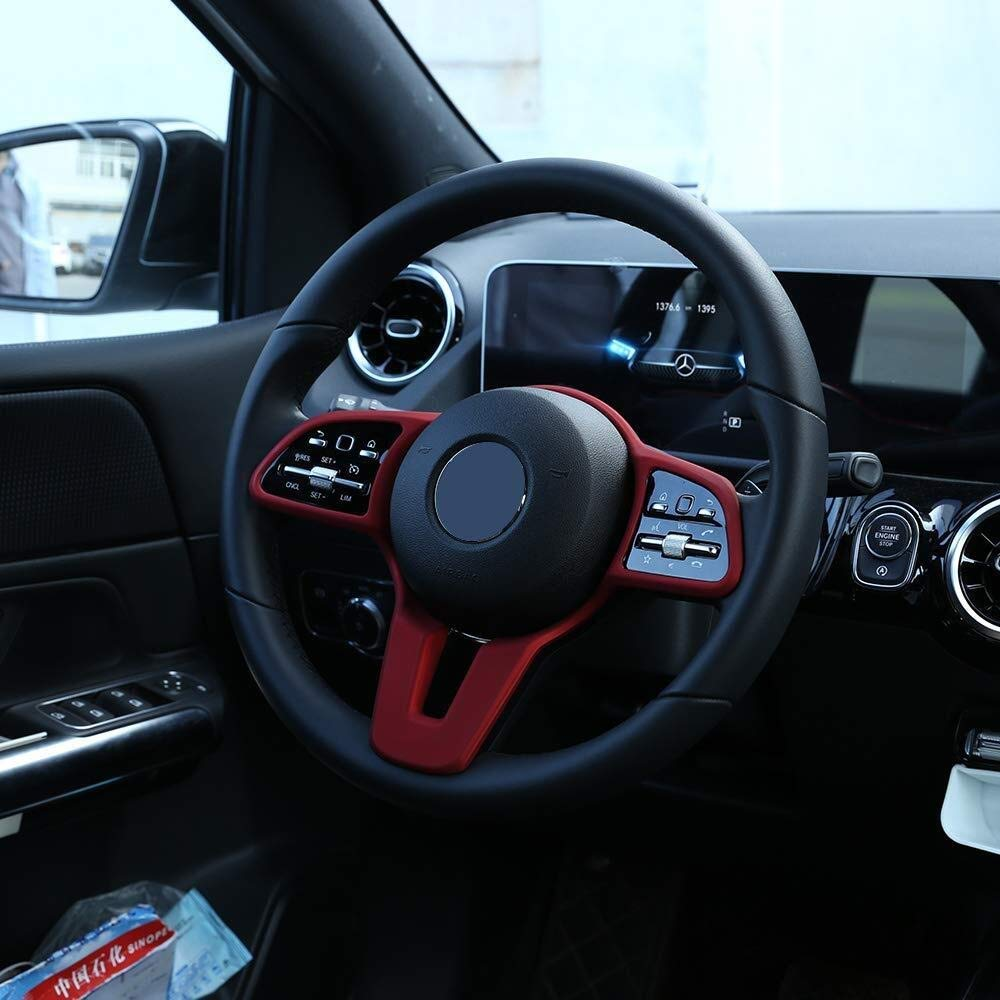 Color : Carbon Fiber Fibra di Carbonio Alta qualit/à di ABS plastica ABS plastica Auto Volante Deroration Frame Trim for Benz W247 B Classe B200 2020 Anni