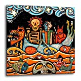 3dRose dpp_21127_2 The Devil S Dream Folk Art Skulls Mexican Colorful Surrealism Wall Clock, 13 by 13''