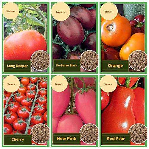 Set of 6 Vegetable Seeds Garden Deluxe, 6 Different Varieties of Tomato (Red Pear, Long Keeper, New Pink, Orange, De-Barao Black, Cherry), Tomato Mix Seeds for Planting, All Seeds Heirloom, Non-GMO! (Pear Tomato Plants)