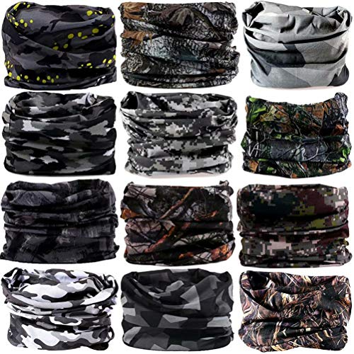 6PCS/8PCS/9PCS/12PCS Seamless Headband camo Bandanas Headwear for Men&Women Neckwarmer Scarf 16-in-1 Multifunctional for Music Festivals Raves Neck Gaiter Magic Scarf Fishing Mask (Style 36(12pcs))