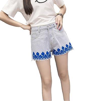 ZXQZ Shorts en denim Shorts en denim brodé uni couleur Denim Shorts en jean taille mi-haute Jeans féminins ( Couleur : Bleu clair , taille : S )