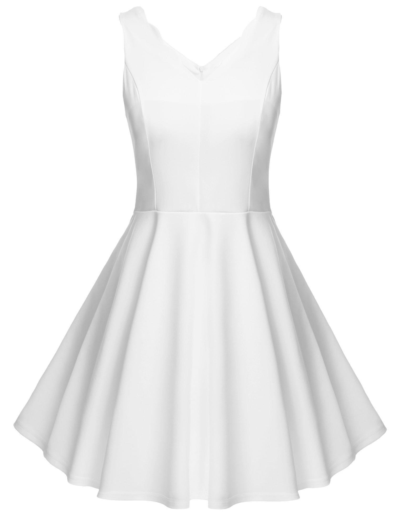 Meaneor Women Cocktail Dress Sleeveless Flare Garden Party Beach Mini Dress,White/XL