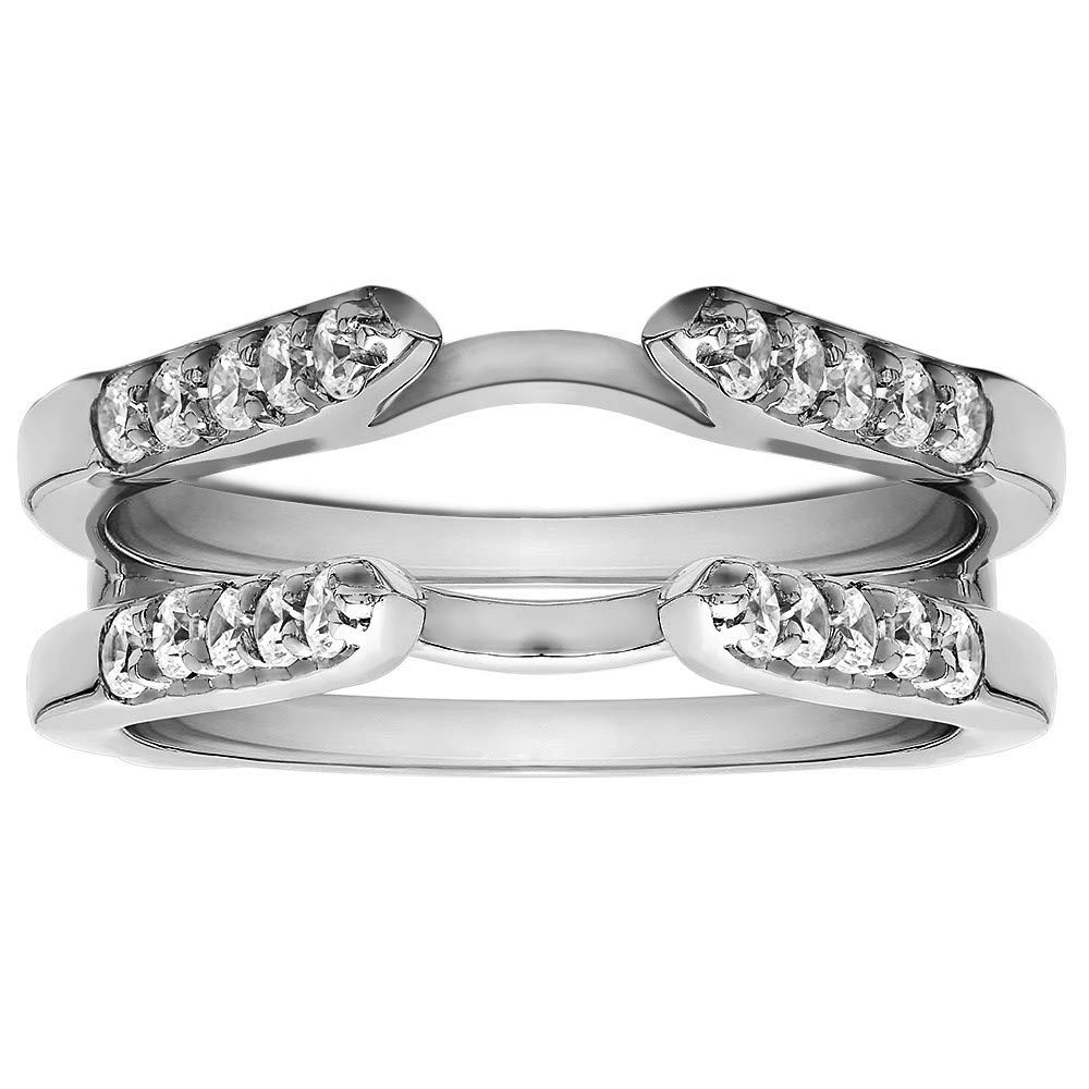 Gems and Jewels Sterling Silver Plated 1ct Round Cubic Zirconia Solitaire Wedding Ring and Guard