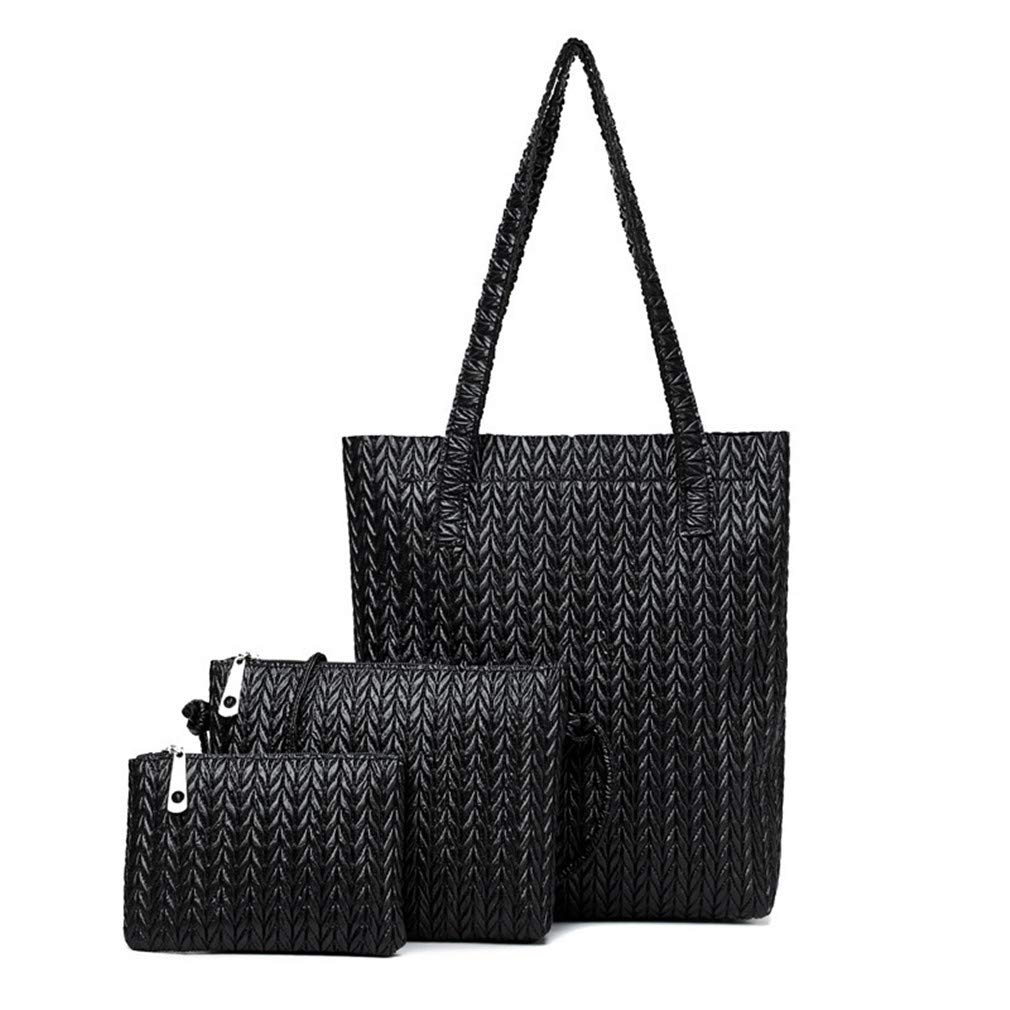 Women Fashion Handbag Set 3 Pieces Pu Leather Composite Female Tote Bag by WUDEF
