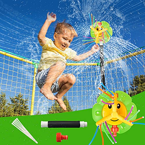 Llkboha Trampoline Sprinkler for Kids, 360-Degree Rotating Outdoor Sunflower Trampoline Accessories, Summer Fun Outdoor Water Toys for Boys and Girls