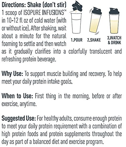 ISOPURE INFUSIONS, Refreshingly Light Fruit Flavored Whey Protein Isolate Powder, ''Shake Vigorously & Infuses in a Minute'', Citrus Lemonade, 16 Servings by Isopure (Image #10)
